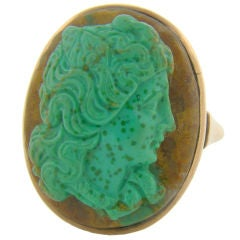 9ct Rose Gold & Agate/Turquoise Combination Stone Carved Cameo