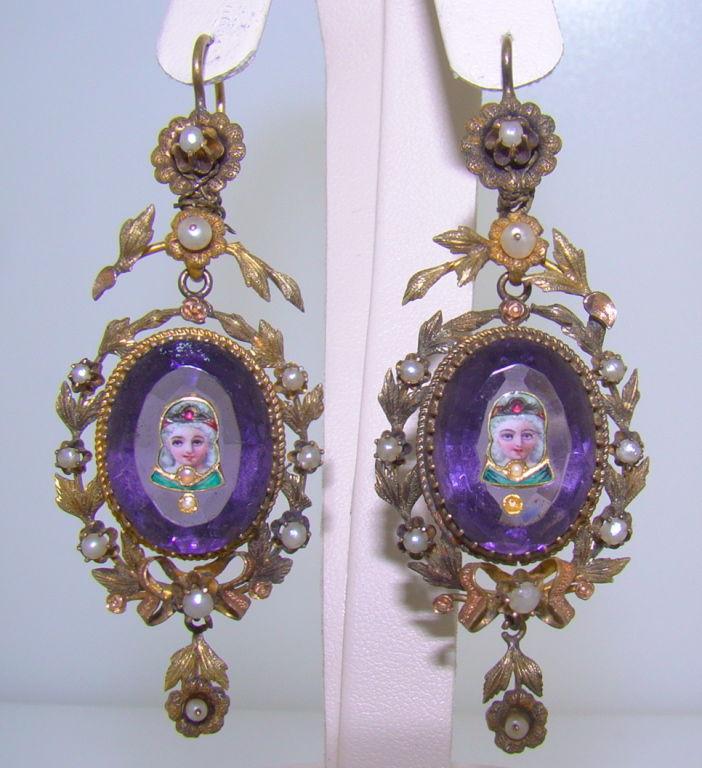 Tri Color Gold And Amethyst Miniature Portrait Enamel