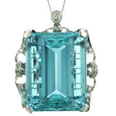 Very Large Aquamarine & Diamond Pendant