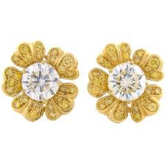 Large Diamond & 18K Yellow Gold Flower Earrings