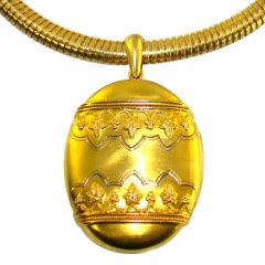 Oversized Yellow Gold Victorian Locket and Collar