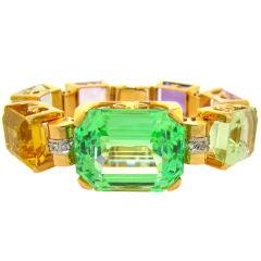 Spudome Beryl, Mult-Gemstone 1940's Rose Gold Tank Bracelet