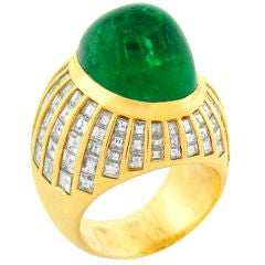 Large 1970's 18K Yellow Gold, Emerald & Diamond Cocktail Ring