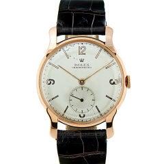 ROLEX 1940's Rose Gold Rare Stylized Case Wristwatch