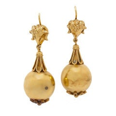 Large Victorian Rams Head Gold Ball Drop Earrings