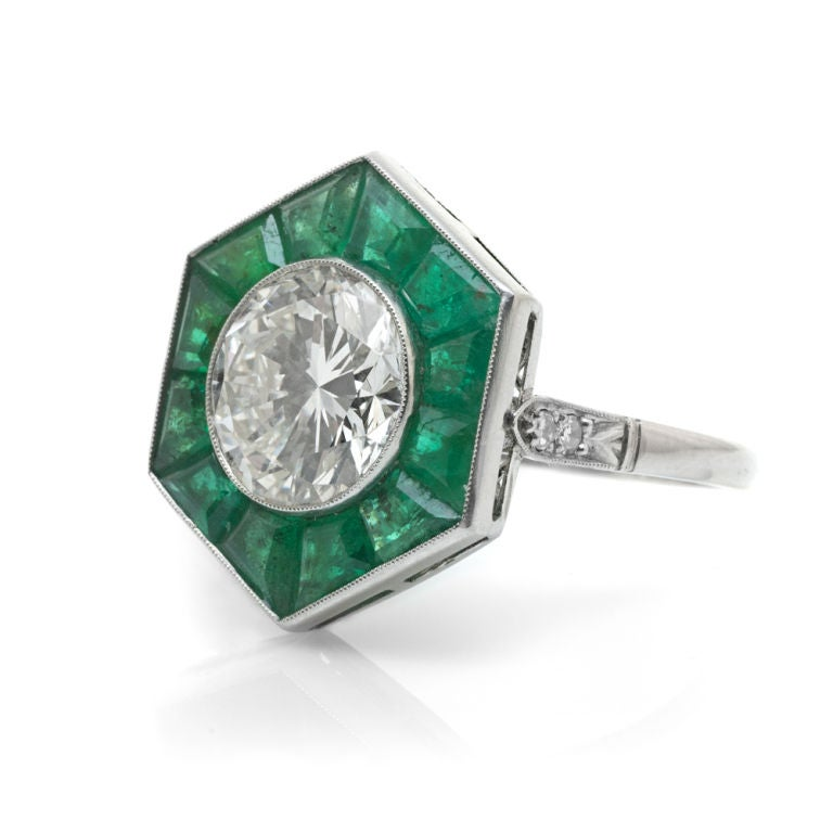 deco and emerald platinum ring at 1stdibs