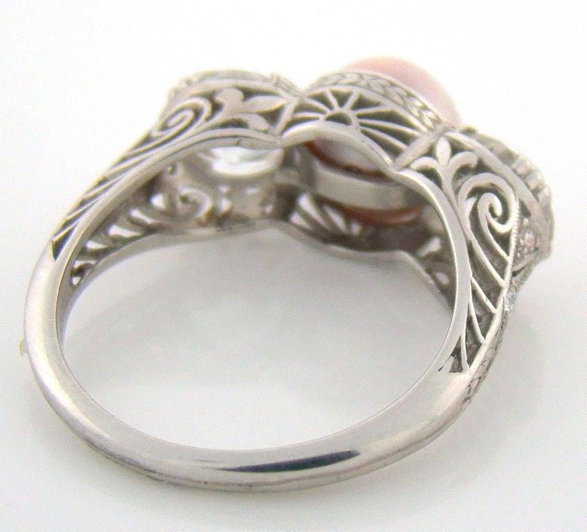 Art Deco Pearl Diamond Platinum Past Present and Future Ring 4