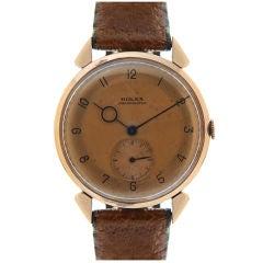ROLEX 18K Rose Gold 1950's Oversized Stylized Wristwatch
