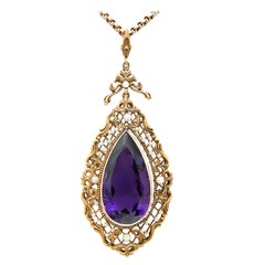 Victorian Large Amethyst Natural Pearl Gold Necklace