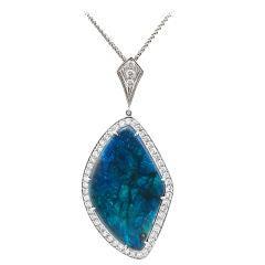 Australian Black Opal, Diamond & 18K White Gold Pendant
