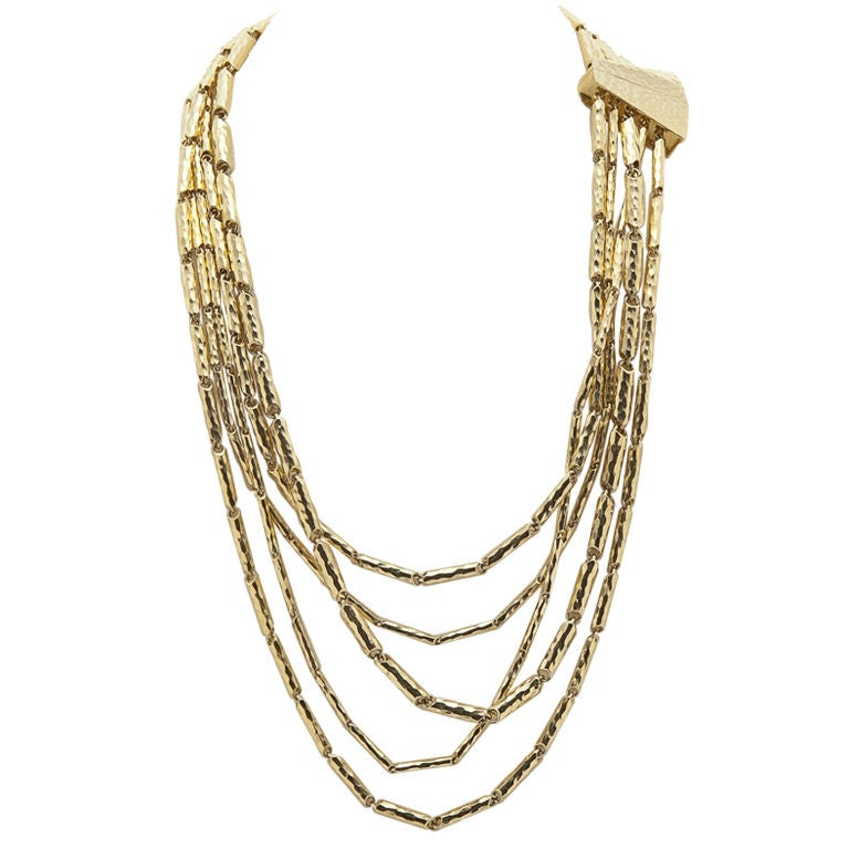 Multi-Faceted & Hammered 18K Yellow Gold Necklace by Henry Dunay 1