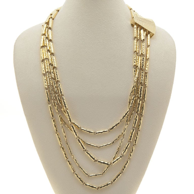 Multi-Faceted & Hammered 18K Yellow Gold Necklace by Henry Dunay 2