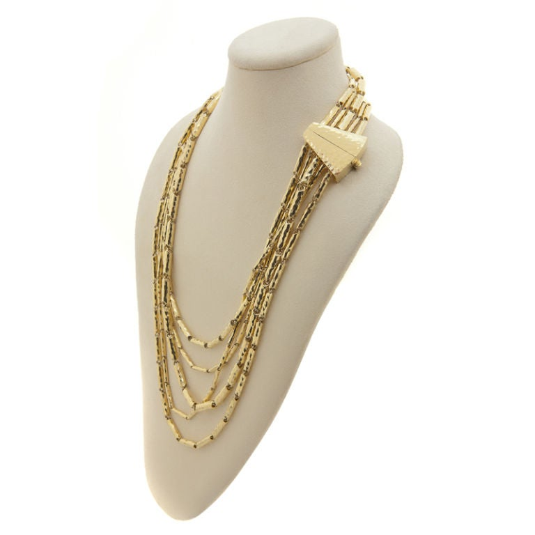 Multi-Faceted & Hammered 18K Yellow Gold Necklace by Henry Dunay 3