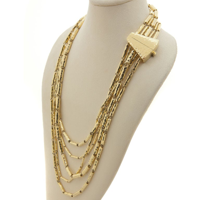 Multi-Faceted & Hammered 18K Yellow Gold Necklace by Henry Dunay 4