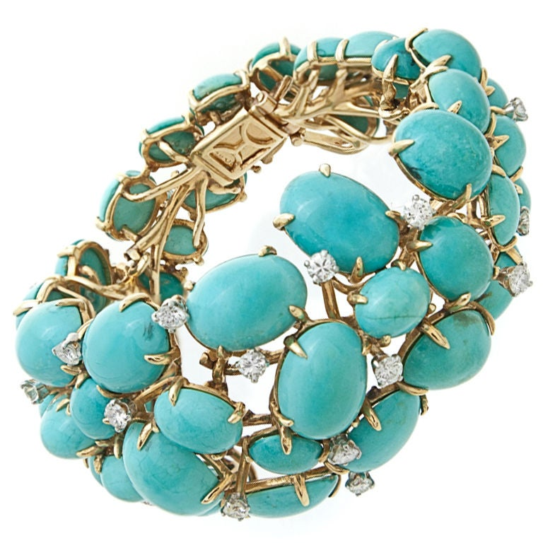 1950 S Persian Turquoise And Diamond Bracelet At 1stdibs