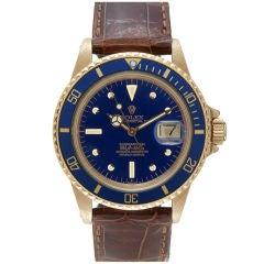 ROLEX 1970's 18K Yellow Gold Blue Submariner Ref. #1680