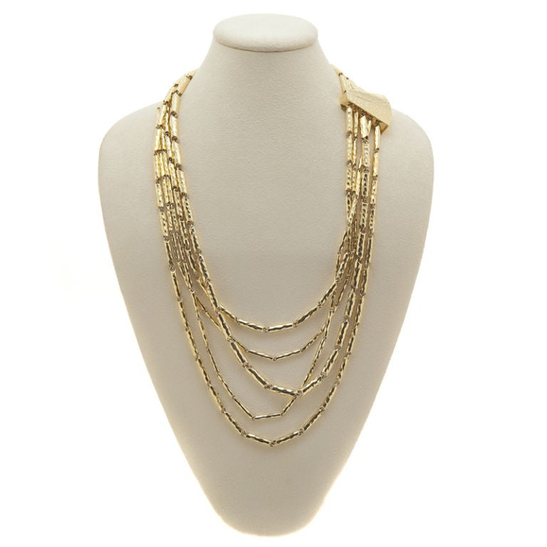 Multi-Faceted & Hammered 18K Yellow Gold Necklace by Henry Dunay 5