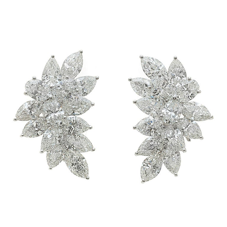 Dazzling Diamond Mixed Cut and Platinum Clip Earrings 1