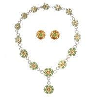 Peridot, Citrine & Diamond Cluster/Flower Style Suite