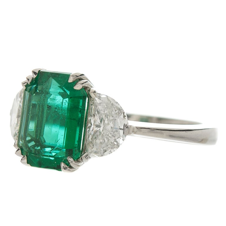 emerald and platinum ring at 1stdibs