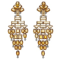 Stunning Citrine Diamond White and Yellow Gold Chandelier Earrings