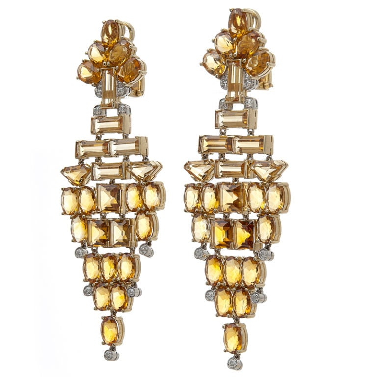 Stunning Citrine Diamond White and Yellow Gold Chandelier Earrings 2