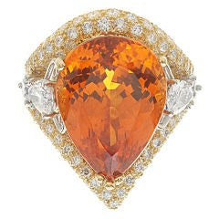 Amazing Spessartite Garnet & Diamond Ring