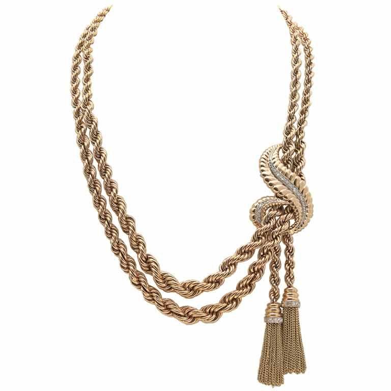 Rose Gold & Diamond Dual Strand & Tassel Retro Necklace 1