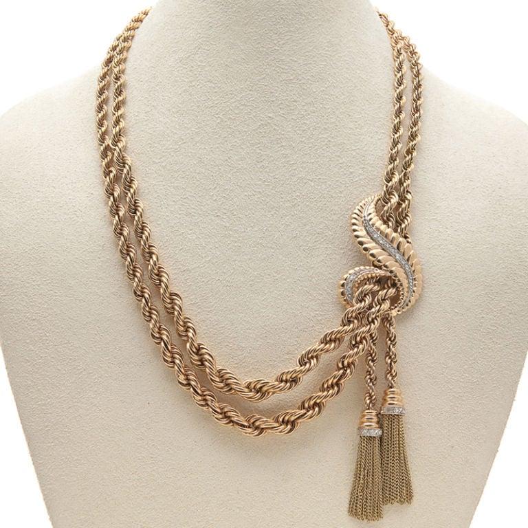 Rose Gold & Diamond Dual Strand & Tassel Retro Necklace 2