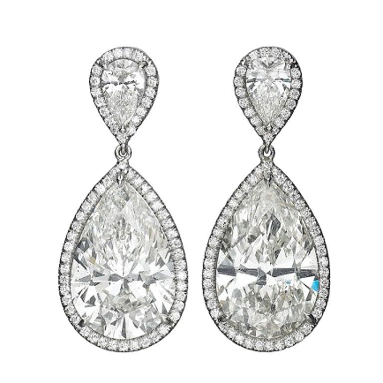 Magnificent Pear Shaped Drop Diamond Earrings At 1stdibs