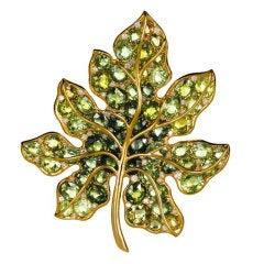 Green Tourmaline Brooch