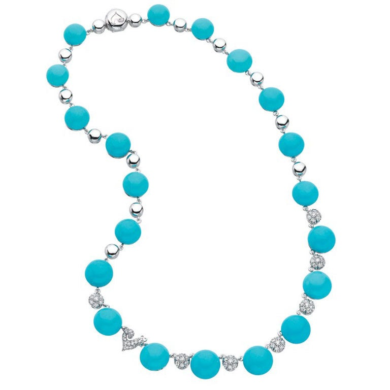 Chantecler of Capri  Turquoise and Diamond Necklace 1