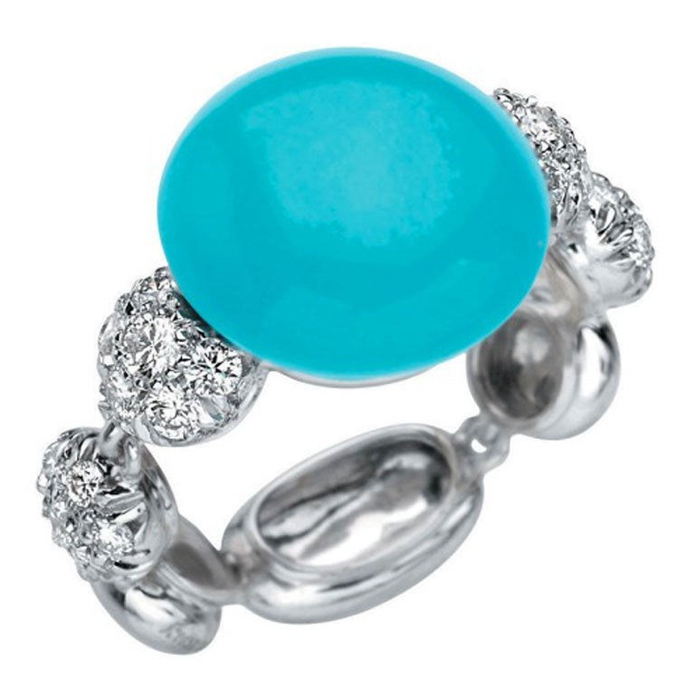 Chantecler of Capri Turquoise and Diamond Ring For Sale