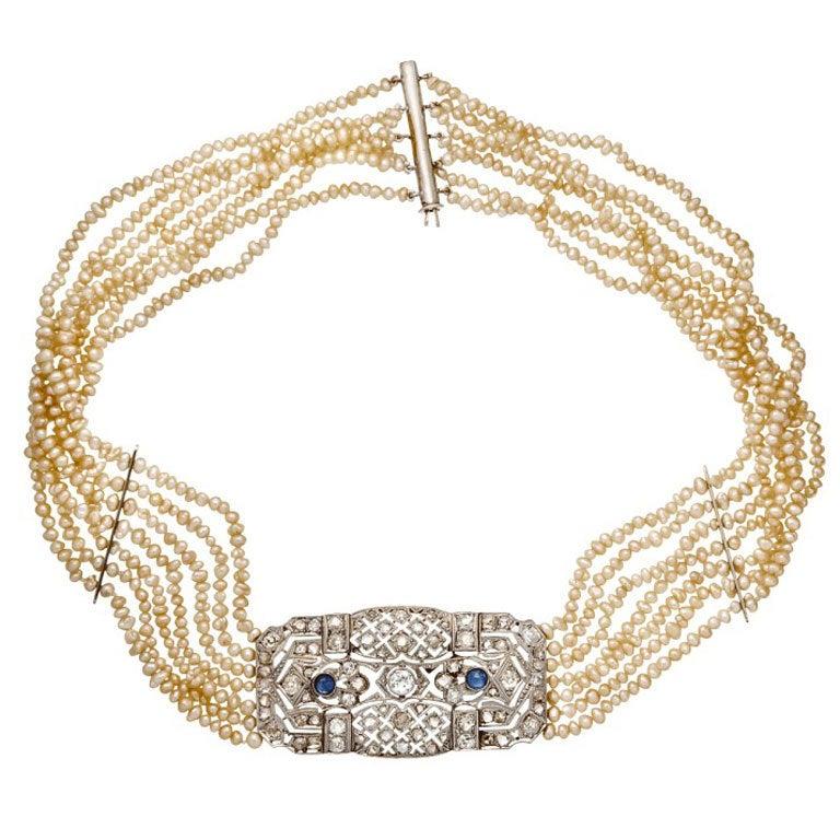 Pearl Sapphire Diamond Strand Choker