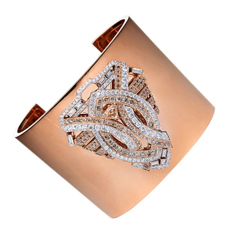 rose gold and chocolate diamond cuff bracelet at 1stdibs. Black Bedroom Furniture Sets. Home Design Ideas