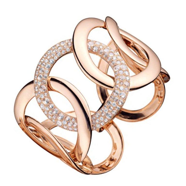 Rose Gold Diamond Link Cuff Bracelet 1