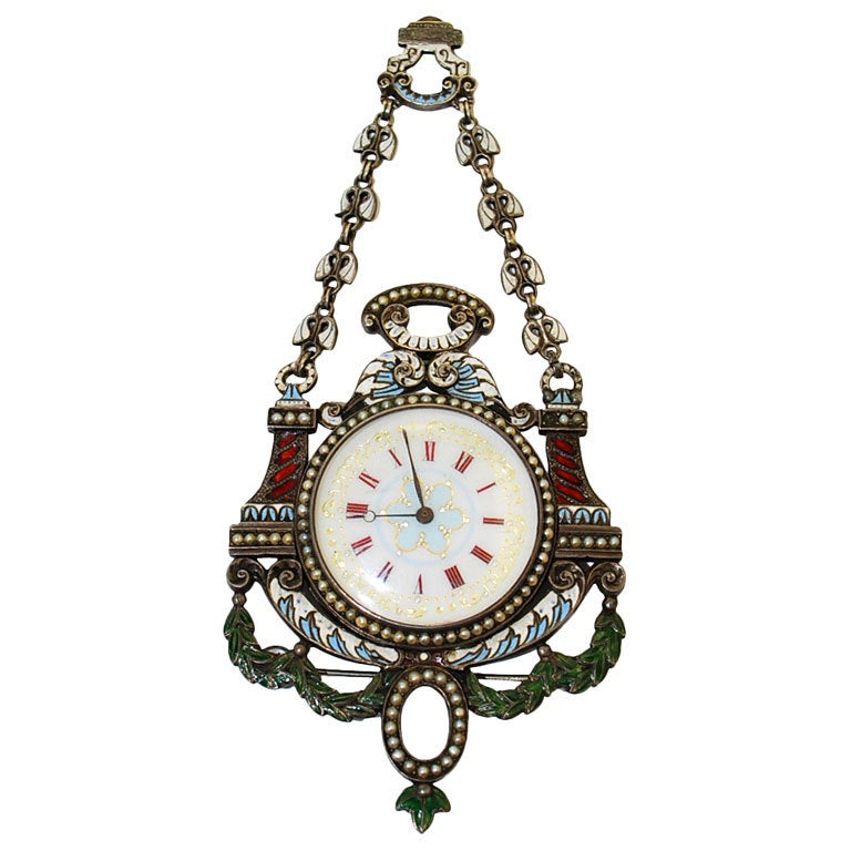 19th Century Silver And Enamel Pasha Pocket Watch At 1stdibs