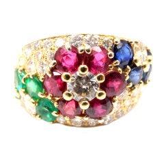 VAN CLEEF & ARPELS Diamond Ruby Emerald Sapphire Gold Ring