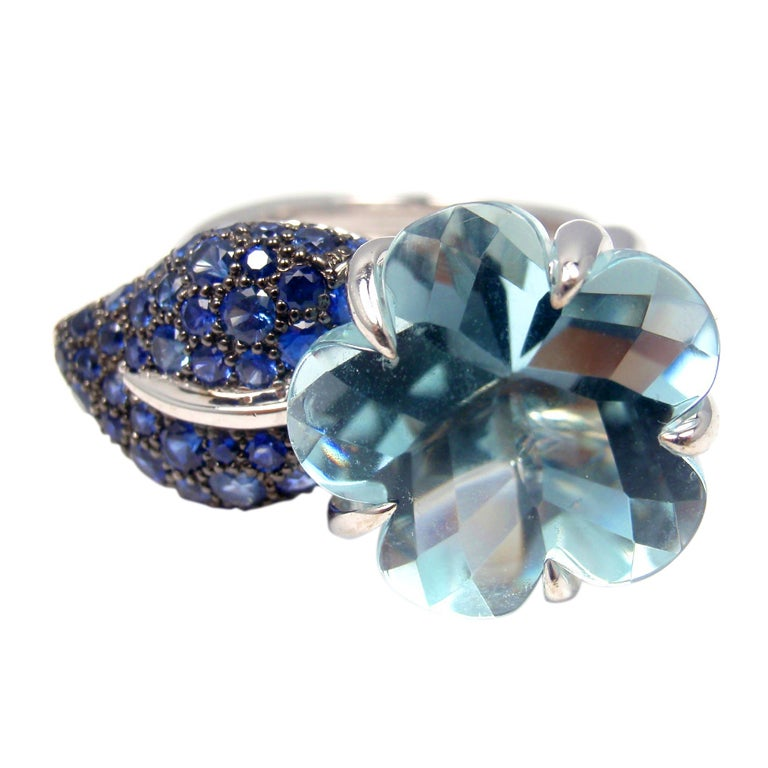 chanel camellia white gold aquamarine blue sapphire ring