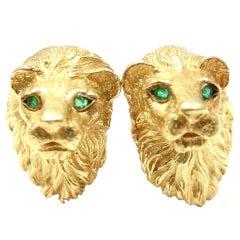 "TIFFANY & CO. Yellow Gold Emerald ""Lion Head"" Cufflinks"