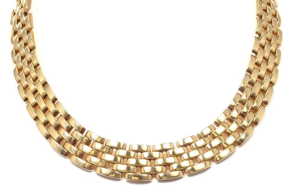 CARTIER MAILLON PANTHÈRE 5 Row Yellow Gold Link Necklace - 1980 2