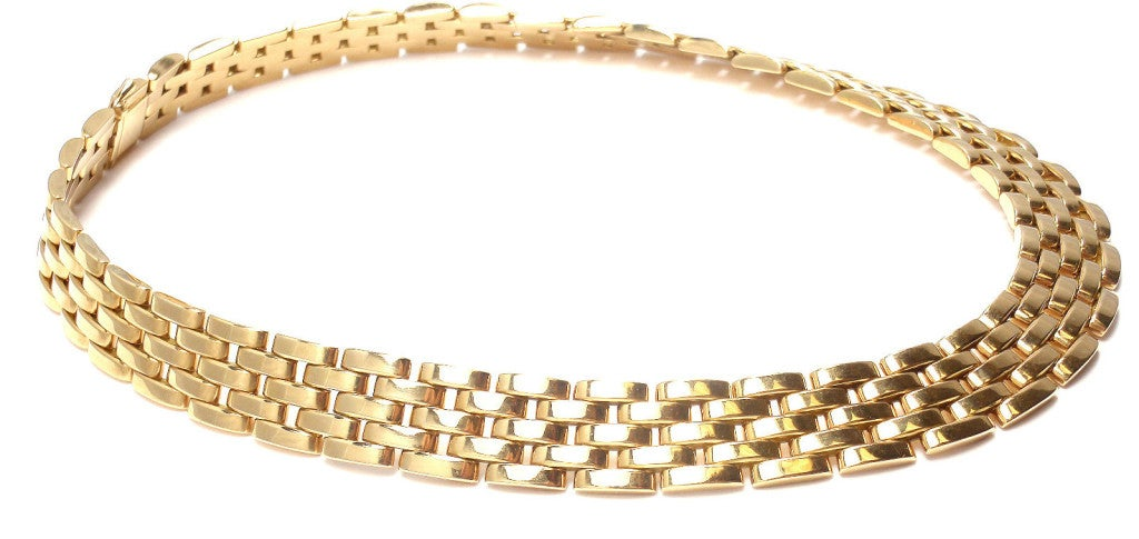 CARTIER MAILLON PANTHÈRE 5 Row Yellow Gold Link Necklace - 1980 3