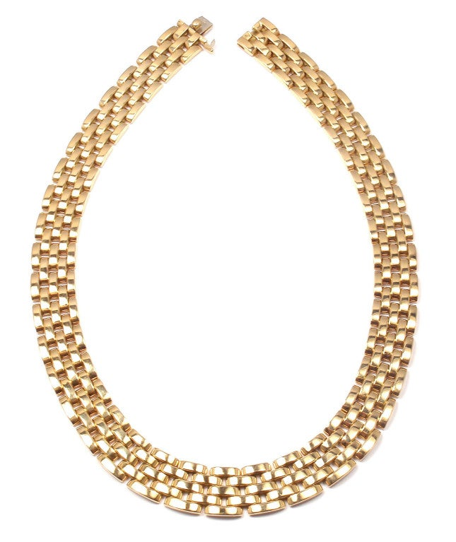 CARTIER MAILLON PANTHÈRE 5 Row Yellow Gold Link Necklace - 1980 5
