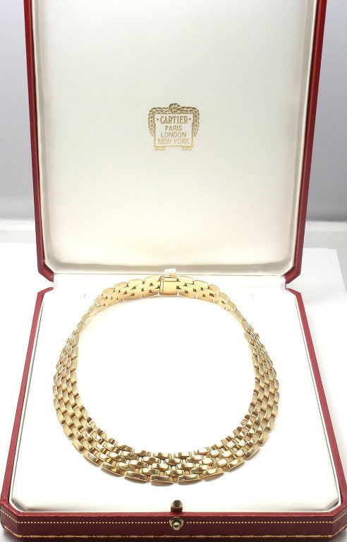 CARTIER MAILLON PANTHÈRE 5 Row Yellow Gold Link Necklace - 1980 6