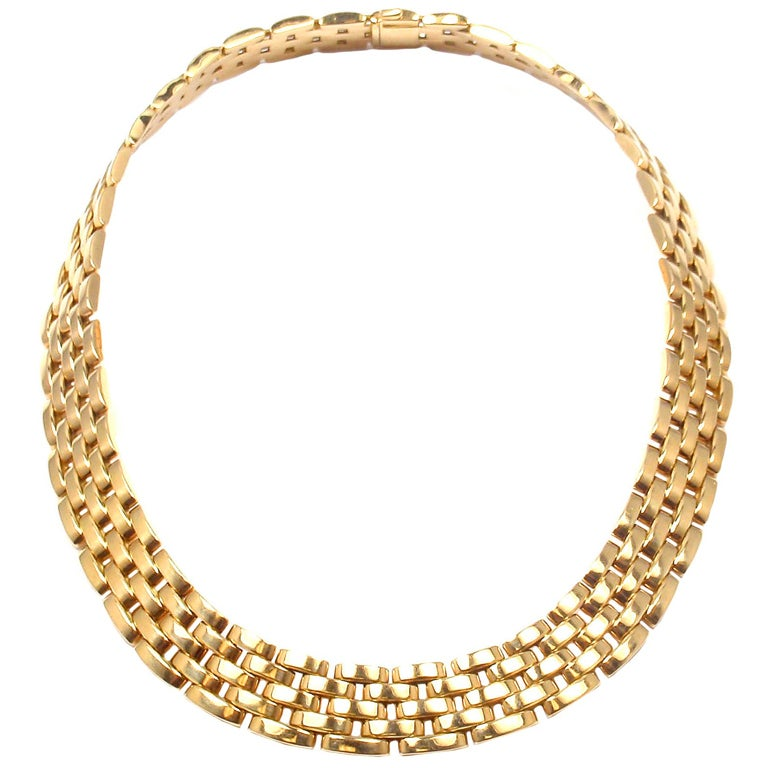 CARTIER MAILLON PANTHÈRE 5 Row Yellow Gold Link Necklace - 1980 1