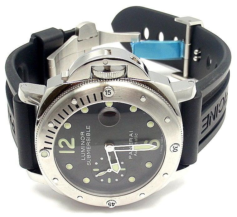 Panerai stainless steel pam 24 luminor submersible diver 39 s - Panerai dive watch ...