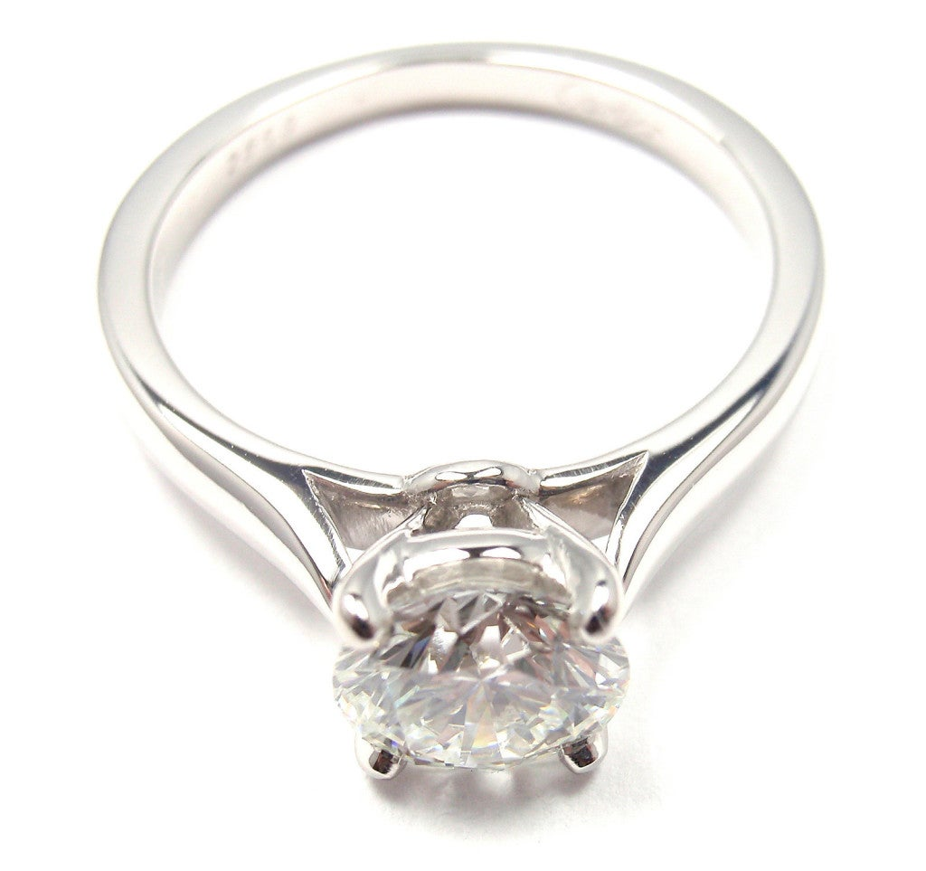 CARTIER 104ct Diamond Platinum Solitaire Engagement Ring At 1stdibs