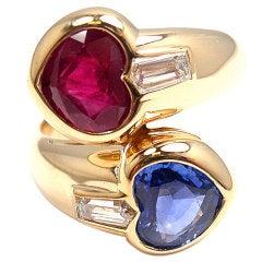 BULGARI Diamond, Heart-Shaped Ruby & Sapphire Yellow Gold Ring