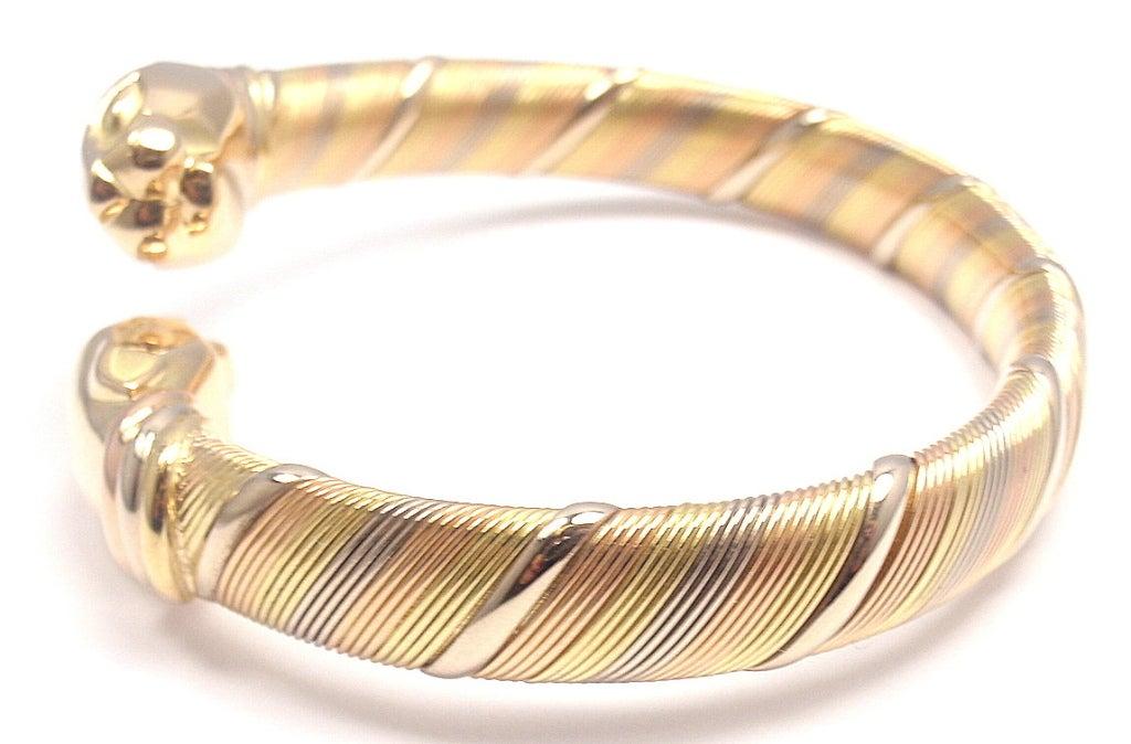 cartier panther tri color gold bracelet at 1stdibs