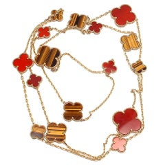 VAN CLEEF & ARPELS Magic Alhambra Carnelian Tiger-Eye Necklace